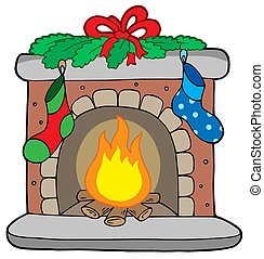 Christmas fireplace with stockings - isolated illustration.