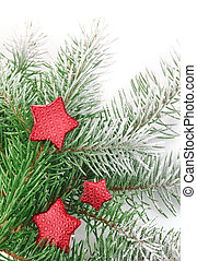 christmas firtree with red stars and white snow