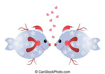 Christmas love kiss. Girl kissing boy under mistletoe ...