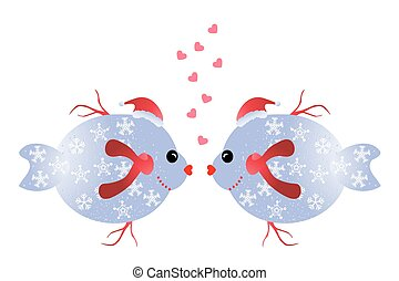 Christmas fish in love
