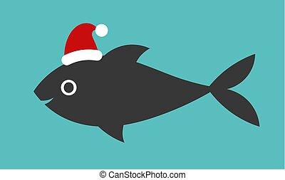 Christmas fish in Santa hat.