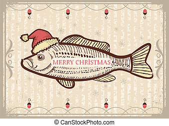 Christmas fish in Santa red hat. Vintage drawing card on old...