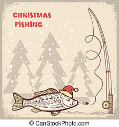 Christmas fishing card with fish in red Santa hat. Vector drawing illustration for text