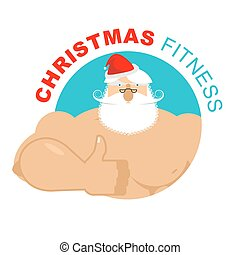 Christmas fitness. Strong Santa thumbs up. Holiday Training. Gesture of hand is all right