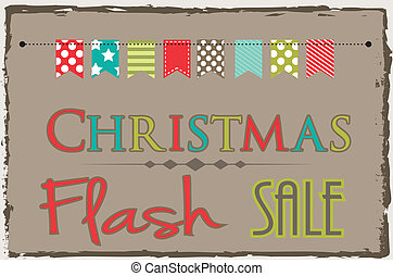 Christmas flash sale template with bunting or banner on ...
