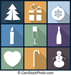 christmas flat icons in nine...