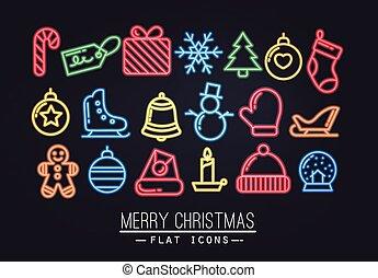 Christmas flat icons neon