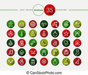 Christmas flat icons set