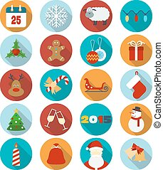 Christmas flat icons set. Vector illustration