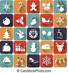 Christmas flat icons. Vector illustration.