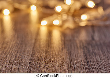 Christmas flat lay - Christmas garland lights on wooden...