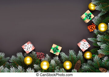 Christmas flat lay scene with git boxes, branch tree Christmas celebration and gift giving concept, copy space on dark wooden background