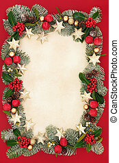 Christmas Floral Border and Decorations