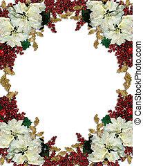 Christmas floral border poinsettias