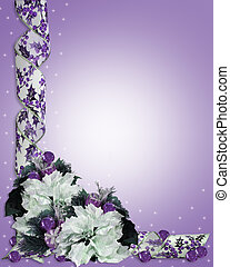 Christmas Floral Border Purple - Illustration and image...