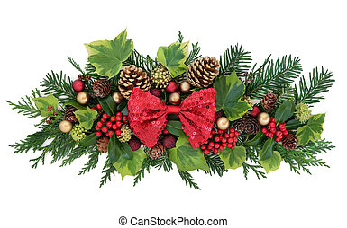 Christmas Floral Decoration with Bow