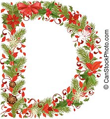christmas floral tree letter D