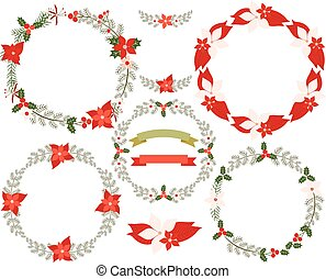 Christmas floral wreaths in green and red with poinsettia, banners, laurels