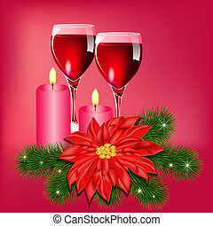 Christmas flower background with champagne and candles
