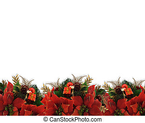 Christmas flowers border