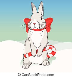 Christmas fluffy white standing rabbit with red ribbon and...
