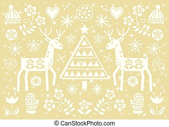 Christmas folk art greeting card with reindeer, flowers, Xmas tree and winter clothes pattern in white on gold background - Merry Christmas decoration