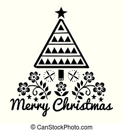 Christmas folk art greeting card with Xmas tree and flowers ...