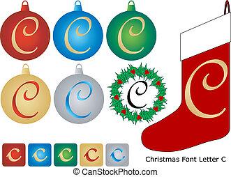 Christmas Font Letter C
