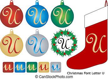 Christmas Font Letter U