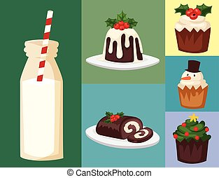 Christmas food and desserts holiday decoration xmas sweet celebration vector traditional festive winter cake homemade dish.
