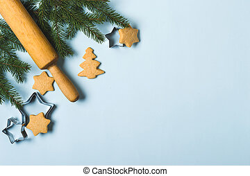 Christmas food background, holiday traditional gingerbread cookies.