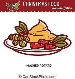 Christmas food, festive cuisine, mashed potato with peas and carrots