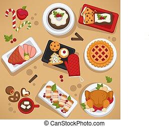 Christmas food on celebrating table feast on winter holiday