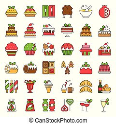 christmas food related icon set such as bakery, wine, biscuit, layered cake decorated with holly, editable stroke