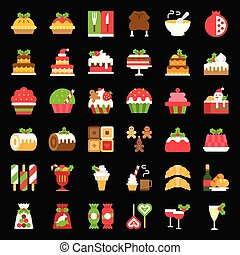 christmas food related icon set such as bakery, wine, biscuit, layered cake decorated with holly