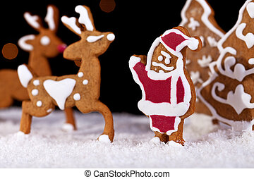 Christmas food setting - gingerbread santa with deers