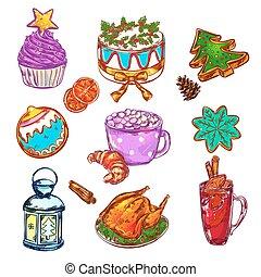 Christmas Food Sketch Set