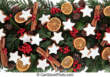 Christmas Food - Christmas food background with gingerbread...