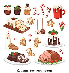 Christmas food vector set. - Set of traditional christmas...