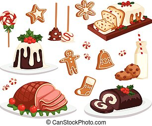 christmas dinner traditional christmas food and desserts rh canstockphoto com Christmas Party Clip Art Christmas Party Clip Art