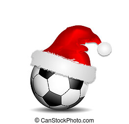 Christmas football - Background with soccer ball and...