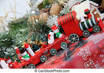 Christmas for children with toy red train