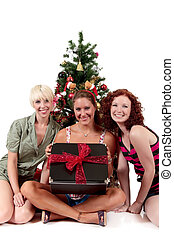Christmas for three young attractive women - Three young...