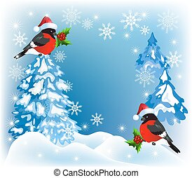 Christmas forest and bullfinches in Santa Claus hat