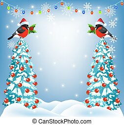 Christmas forest and bullfinches