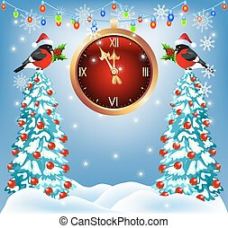 Christmas forest and bullfinches with chimes