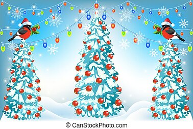 Christmas forest and bullfinches with lantern garland