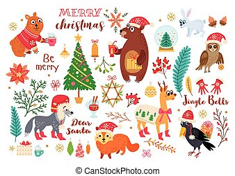 Christmas forest animals set in cartoon style