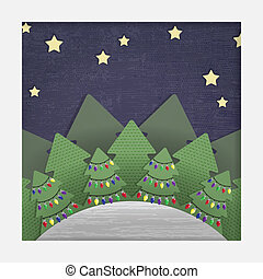 Christmas Forest Paper Cut-out - A stylized layered paper...