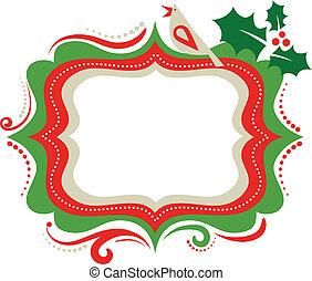 Christmas frame - 3  - Christmas frame with a bird